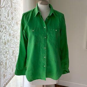 Ralph Lauren M linen green shirt great condition